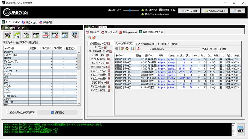 SEOツール「COMPASS」の競合の総被リンク数やページランク・ドメインの強さを確認している画面