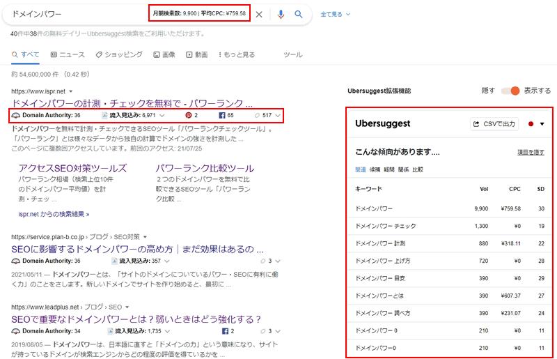 【Ubersuggest】自動で結果が表示される