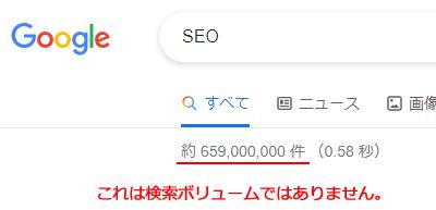 Googleの検索結果に表示されるのは検索結果見積りで、検索ボリュームとは違う