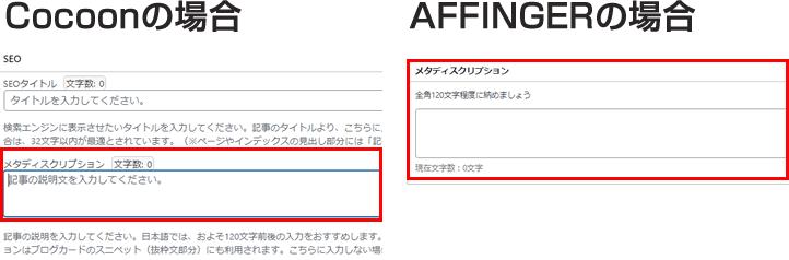 AFFINGER6やCocoonでは、記事編集画面の下にある入力ボックスでdescriptionの編集ができる